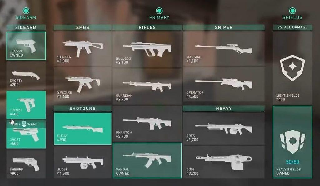 оружия, Обзор всего оружия в игре Valorant